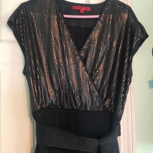 Narcisco Rodriguez back and gold evening dress